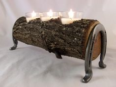 Mesquite Candle Holder with Horse Shoe Legs Made in by XXRanchArt