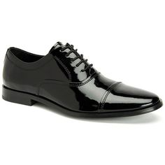 Calvin Klein Nino Cap Toe Patent Leather Oxfords ($150) ❤ liked on Polyvore featuring men's fashion, men's shoes, men's oxfords, black, mens black patent leather shoes, mens formal shoes, mens cap toe shoes, mens lace up shoes and mens black oxford shoes