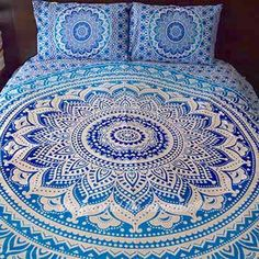 Items similar to Blue Ombre Mandala tapestry duvet cover and pillowcase set, one queen duvet and 2 matching pillowcases, boho bedding, mandala tapestry on Etsy Cute Duvet Covers, Boho Duvet Cover, Comforter Cover, Comforter Sets, King Comforter, Hippie Bedding, Tapestry Bedding, Bohemian Bedding, Tapestries