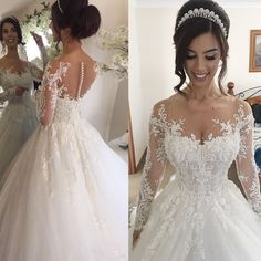 Ball Gown Illusion Jewel Long Sleeves Wedding Dress with Beading Appliques - Dressywomen.com.
