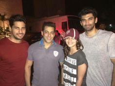 Aditya with Salman Khan, Sidharth Malhotra and Alia Bhatt at kick screening.
