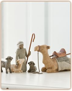 Shepherd and Stable Animals for the Nativity Surrounding new life with love and warmth Susan Lordi carved this four-piece set to complement the scale of the classic six-piece Nativity.