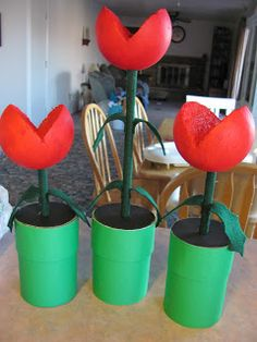 xbox birthday party Hanging by a Silver Lining: How to Make Super Mario Piranha Plant Centerpieces