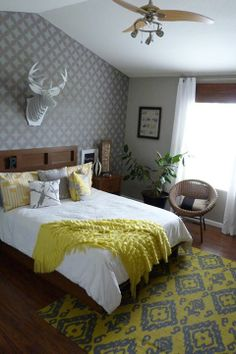 What color is your bedroom? We've been spotting a lot of gray and yellow like this Nagoya stenciled bedroom by Katie.  Make this stencil yours: http://www.cuttingedgestencils.com/japanese-stencil-nagoya.html  #cuttingedgestencils #stencils #stenciling #wallstencils
