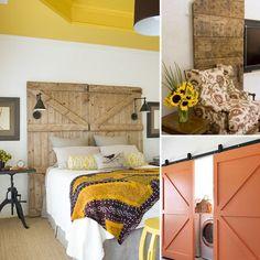 love - barn doors as head boards.