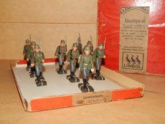 Alte Masse Figuren Soldaten Lineol Infantry mit Stahlelm im original Karton rar | eBay
