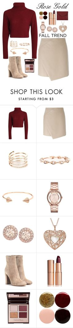 """""""Rose gold"""" by samang ❤ liked on Polyvore featuring Carven, STONE, CC SKYE, Marc by Marc Jacobs, Givenchy, Gianvito Rossi, Charlotte Tilbury, Nails Inc., Rebecca Minkoff and rosegold"""
