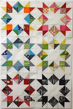 Inverted Star Tutorial quilting patterns, star quilts, half square triangles, invert star, colorful quilts, bee block, quilt blocks, star tutori, quilt tutorials