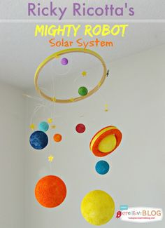 Your kids are going to LOVE this book series! Make this Ricky Ricotta's Mighty Robot DIY Solar Galaxy to go along with each story!