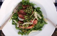 Grilled New York Strip Steak salad w/ arugula, salsa verde & parmesan