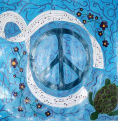 Personal Mandala in acrylic. School Painting, Painting Lessons, High School, Mandala, Waves, Symbols, Artwork, Ideas, Work Of Art