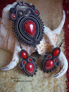 set soutache Soutache Pendant, Soutache Earrings, Shibori, Beaded Embroidery, Jewerly, Gemstone Rings, Handmade Jewelry, Beads, Necklaces
