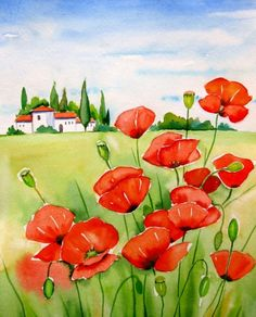 """Tuscany with Poppies""Watercolor Painting by Meltem Kilic  painting by artist Meltem Kilic"