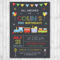 Choo Train Invitation Digital Printable 3rd Birthday