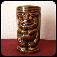 Tiki Leilani Mugs, 8 Piece Set, Marked USA, Vintage 60s, Pottery, Drinking Glasses, Hawaiian Totem, Luau, Polynesian, Planter, Vase - pinned by pin4etsy.com