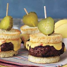 Pimiento Cheese makes these sliders an irresistible party delight! | http://www.rachaelraymag.com/Recipes/rachael-ray-magazine-recipe-search/lunch-recipes/pimiento-cheese-sliders