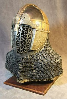 Interpretive Anglo Saxon Helmet Made by Vrin Thomas Steel and bronze. Leather and chain mail by Sir Matthias Bane Ancient Armor, Leather Armor, Knight Armor, Medieval Fashion, Anglo Saxon, Chain Mail, Dark Ages, Metalworking, Larp