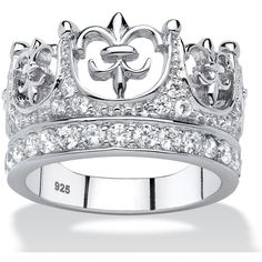 Palm Beach Jewelry PalmBeach Platinum over Sterling Silver 1ct Round... ($45) ❤ liked on Polyvore featuring jewelry, rings, white, palm beach jewelry, cz pave ring, pave cubic zirconia ring, platinum ring and crown ring