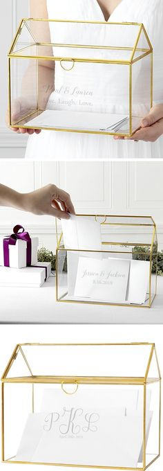 Wedding Gift Card Box Idea - Use a glass terrarium to hold gift cards during your wedding reception. The terrarium can be used as a decorative centerpiece in your home after the wedding.