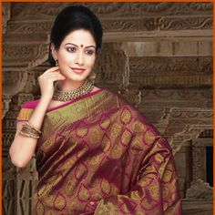 Magenta Brocade Pure Silk Saree with Blouse Online Shopping: STC222