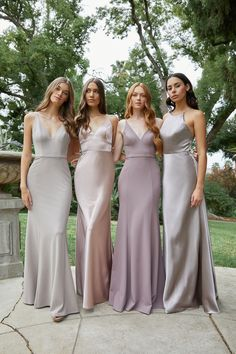 Gray, silver, mauve, and pale purple bridesmaid dresses in sleek satin and modern silhouettes. Lavender Bridesmaid Dresses, Mismatched Bridesmaid Dresses, Designer Bridesmaid Dresses, Wedding Bridesmaid Dresses, Dress Wedding, Wedding Bells, Mix Match Bridesmaids, The Dress, Marie