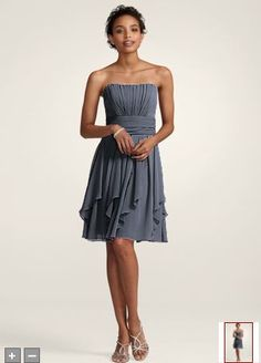 Strapless Chiffon Layered Skirt in Pewter Also acceptable - Mercury (see other David's Bridal dress)