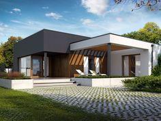 Zdjęcie projektu Artus in 2020 Modern Bungalow House, Modern House Facades, Bungalow House Plans, Modern House Plans, House Roof Design, Flat Roof House, Facade House, One Storey House, Modern Small House Design