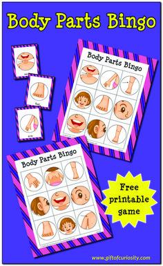 Body preschool - Body Parts Bingo Game – Body preschool Body Parts Preschool Activities, Body Preschool, Human Body Activities, Free Preschool, Preschool Printables, Toddler Activities, Listening Activities, Activities For Preschoolers, Bingo For Kids
