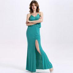 TE2132OMSS Europe fashion Slim waist irregular split forked tail gallus dress