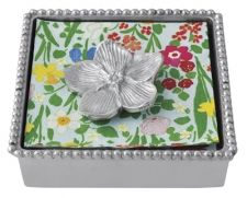 """Beaded Napkin Box with Forget-me-not Weight  Item 2875-C    Price:$48.00 (Suggested Retail)  Materials:Recycled Sandcast Aluminum  Dimensions:5.75""""L x 5.75""""W x 1.5""""H"""