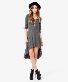Heather Grey Heathered High-Low Dress