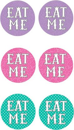 Eat Me Cupcake Toppers | Free Printables | Kit & Caboodle Parties | Alice in Wonderland Party Ideas | Alice in Wonderland Printables