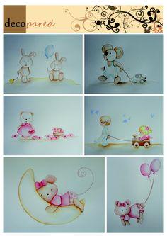 Murales infantiles de conejitos, ositos, ratoncitos... en tonos muy suaves para decorar el cuarto de tu bebé