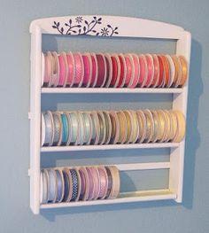 DIY ribbon storage from repurposed spice rack