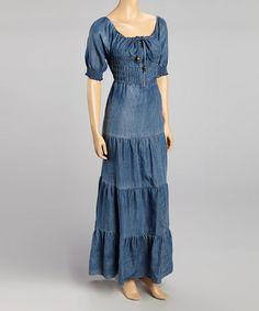 This Blue Denim Maxi Dress by Miss Maxi is perfect! #zulilyfinds
