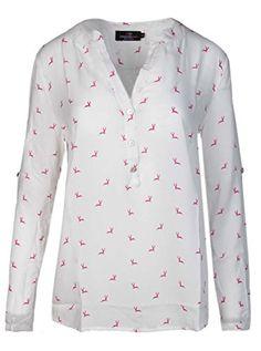 d6bed85d7cb84 Zwillingsherz Bluse mit Hirsch Muster - Hochwertiges Oberteil für Damen  Mädchen - Langarmshirt Top - T