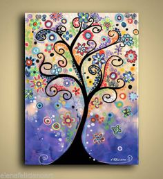 Stretched-Canvas-Print-of-My-Tree-Painting-Landscape-Fantasy-Art-Whimsical