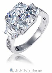Cubic Zirconia 5.5 Carat 10x10 Asscher Inspired Solitaire Engagement Ring with trapezoids by Ziamond.  The Muzeum Ring features approximately 7.5 carats in total carat weight.  Ziamond features the finest hand cut and hand polished cubic zirconia set in 14k gold, 18k gold or platinum mountings. $2895 #ziamond #cubiczirconia #cz #ring #solitaire #engagement #wedding #asscher #trapezoid