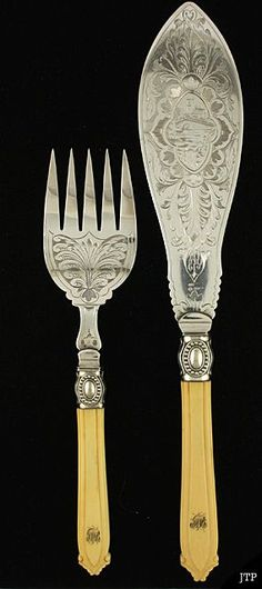 """~ English """"Victorian"""" Engraved Silver Fish Set With Lovely Ivory Handles ~ (1860's To 1880's)"""
