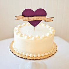 Heart Wedding Cake Topper. Simple and sweet
