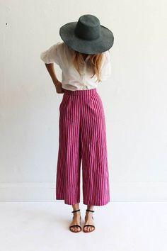 magenta pinstripe wide leg pants | boho style
