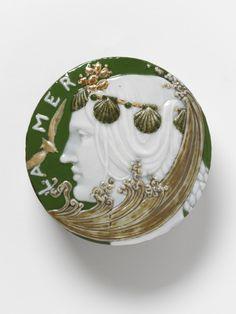 Porcelain paperweight 'La Mer' with pâte sur pâte decoration, Sèvres, designed and decorated by T.M. Doat, Paris, ca. 1900-1901