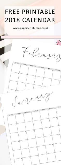 Free 2018 Calendar | Free Planner Printables | Planner Printables | Free Printables | 2018 Calendar | Family Organization | Home Organizing | Planner Organization | 2018 Planner (desk organization diy paper)
