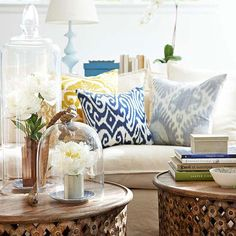 Small scale pillows are a great start to introduce pattern-mixing in your space: http://www.bhg.com/decorating/lessons/basics/mixing-patterns/?socsrc=bhgpin072214playpatternmatcher&page=3