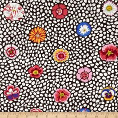 Kaffe Fasset Collective Guinea Flower White from @fabricdotcom Designed by Kaffe Fassett for Free Spirit, this cotton print is perfect for quilting, apparel and home decor accents. Colors include pink, red, white, grey, blue, yellow, and a brown background.
