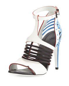 Cage-Front Metal-Heel Sandal, White/Black by Fendi at Bergdorf Goodman. $1350
