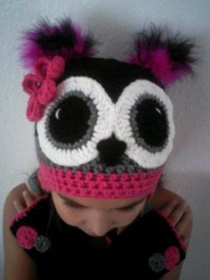 Pink Black and Gray Owl Hat with Poofs and by MarysMoxee on Etsy, $48.00
