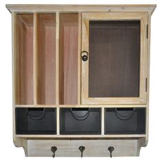 Offering distinctive style for your kitchen or study, this wood wall cabinet features ample storage space and 3 hooks.  Product: