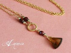 Honey topaz and red tiger's eye 14k gold fill necklace by Amaria.