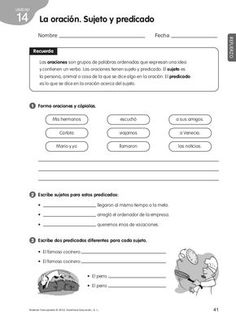 Colorinets: SUJETO, PREDICADO Y VERBO Spanish Grammar, Teaching Spanish, Spanish Language, Teaching Resources, Language Arts, Spanish Lessons, Math Lessons, Learn Spanish, Spanish Games